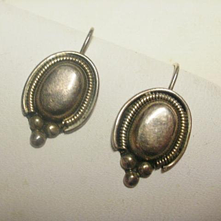 Vintage Sterling Mexico French Wire Earrings