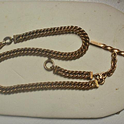 "Gorgeous Heavy 13"" Men's Curb Link Gold Filled Watch Chain"