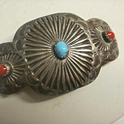 Navajo Hand Tooled Sterling Turquoise Coral Hair Ornament