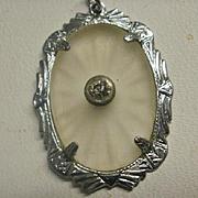 Vintage Rhodium Plated Camphor Glass Pendant