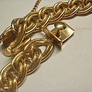 Gorgeous Vintage Gold Filled Textured Link Charm Bracelet