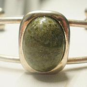Sterling Mossy Green Jasper Cuff Bracelet