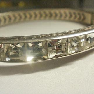 Wide Art Deco Era Sterling Channel Set Sparkling Crystal Bangle