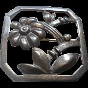 Baur Sterling Framed Floral Brooch