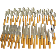 Service for 12 Hull Butterscotch Bakelite Handle 48 Piece Cutlery Set