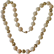 Fabulous 14k Large 12mm Angel Skin Bead Necklace