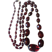 """Hand Knotted 36"""" Cherry Amber Bakelite Large Graduated Bead Necklace"""