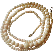"""14k Blush Angel Skin Coral Graduated Bead 38"""" Necklace"""