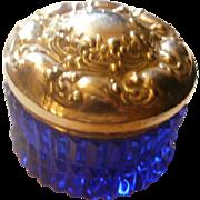 Repousse Sterling Cobalt Glass Dresser Jar