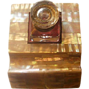 Victorian Era Inkwell on Fitted Mother of Pearl Stand