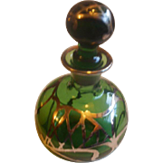 Sterling Overlay Green Glass Perfume Bottle