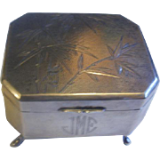 Japanese 900 Silver Footed Bamboo Etched Design Box