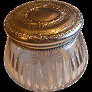 Gorgeous Large Gorham Sterling Topped Crystal Powder Jar