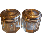 Set of Matching Sterling Topped Rouge Jars