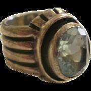 Large Heavy Silpada Sterling Blue Topaz Ring ~7 1/2