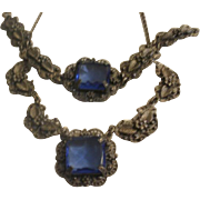 Art Deco Era Brass and Blue Glass Necklace & Bracelet Set