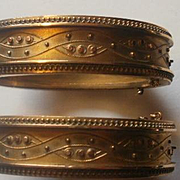 Victorian Etruscan Revival Gold Filled Wedding Bangles