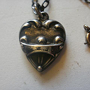 """Vintage """"Puffy"""" Sterling Heart Pendant and Chain"""