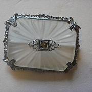 Rhodium Plated Camphor Glass Pin