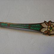 Vintage Cloisonne Enamel Brass Brooch