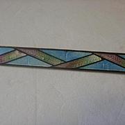 Beautiful Pastel Enamel Art Deco Brass Bar Pin
