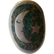 Vintage Sterling Mexico Turquoise Moon and Star Ring~Adjustable