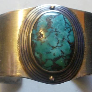 Large Hand Made Sterling Enamel Turquoise Cuff Bracelet