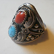Larry Begay Sterling Turquoise Coral Ring ~ 10 1/2