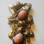 "Huge 4"" Acorn and Leaf Brass Coral-Glass Clip"