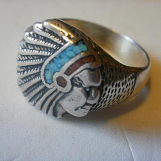 Artist Marked Sterling Turquoise Indian Chief Ring-10