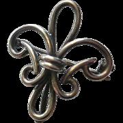 Large Sterling Fleur Di Lis Watch Pin