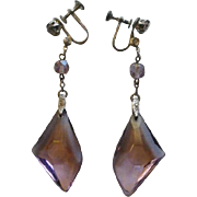Fabulous Rhodium Plated Amethyst Glass Art Deco Earrings
