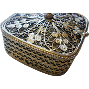 Gold Washed 800 Silver Filigree Hinged Box Vinaigrette