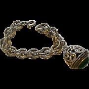 Vintage 800 Silver Charm Bracelet with Large Carved Chrysoprase Fob Charm