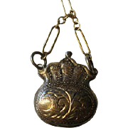 "Vintage Etched Silver ""Purse"" Locket/ Fob"