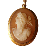 Art Deco Era 14k Carved Cameo Pendant