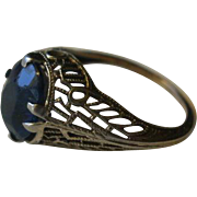 Vintage Platinum Filigree Synthetic Sapphire Ring