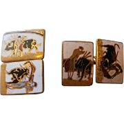 Double Sided Gilt Brass Enamel Bull Fighter Cuff Links