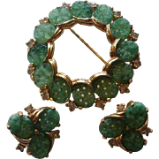 Jomaz Peking Glass and Rhinestone Brooch and Earring Set