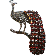 "Vintage 4"" Sterling Marcasite Natural Garnet Peacock Brooch"