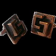 "Vintage ""Chenet d'Haiti"" Modernist Winifred Mason Copper Cufflinks"
