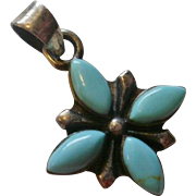 Vintage South Western Sterling Turquoise Pendant