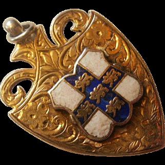 Birmingham England Gold Washed Sterling Enamel Fob ~ 1911