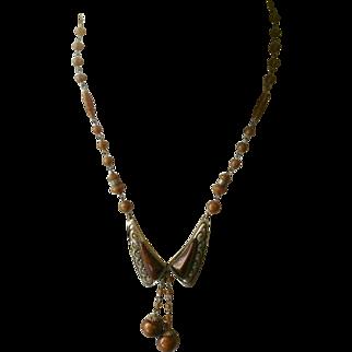 Signed Czech Mink Satin Glass Bead & Drop Necklace