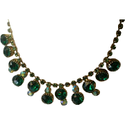 Lovely Vintage Green & AB Rhinestone Necklace