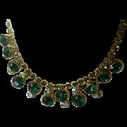 Lovely Vintage Green & AB Rhinestone Necklace