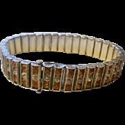 Fabulous Art Deco Era Sterling Channel Set Rhinestone Bracelet