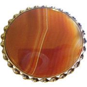 Exceptional Victorian Era Banded Agate Sterling Brooch
