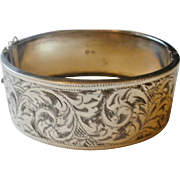 Victorian Era English Silver Etched Bangle Bracelet