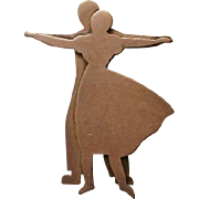 Sterling Modernist Ballroom Dancers Pin